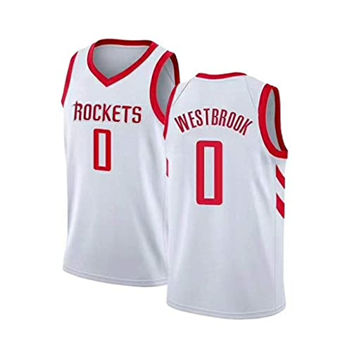 ZRHZB Camiseta de Baloncesto para Hombre-NBA Houston Rockets 0# Westbrook Chaleco de Malla Transpirable En Verano, Deportes, Entrenamiento, Competición, Fitness,XXL