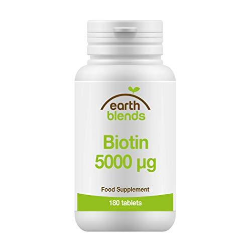 Earth Blends - Biotina 5000 μg, Vitaminas del complejo B, para adultos (180 comprimidos)