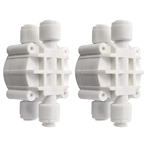 """HiKiNS Válvula de cierre automático de 1/4""""(paquete de 2) accesorios de conexión rápida para purificador de agua de acuario de ósmosis inversa RO"""