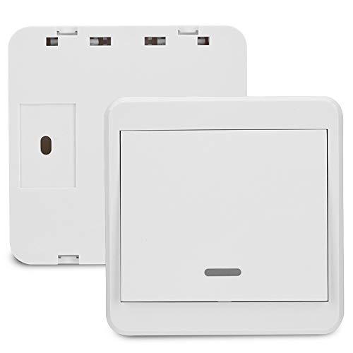 220V 1-CH 433MHz Interruptor de relé de control remoto inalámbrico Antiinterferencias, no se necesita cableado, (1 interruptor de etiqueta de pared + 1 receptor) (Entrega sin batería)