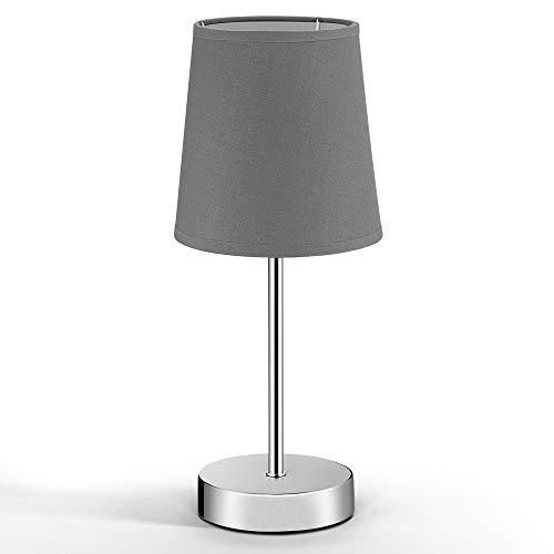 Monzana Nachttischlampe Tischlampe Stoffschirm Höhe 32cm Tischleuchte Anthrazit E14 Fassung Nachttischleuchte Leselampe