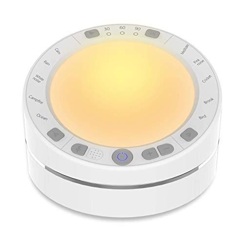 adminitto88 Schlafgeräuschmaschine einschlafhilfe Baby White Noise Machine Weißes Rauschen Nachtlicht Aufnahme und Wiedergabe White Noise Machine USB Powered für Baby/Erwachsene