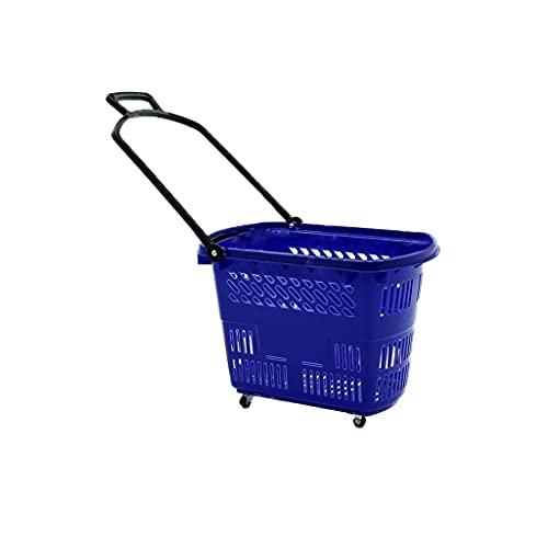 HSAN 슈퍼마켓 쇼핑 바구니 휴대용 과일 야채 바구니 대용량 환경 보호 저장 바구니 벨트 롤러 (색상 : D)