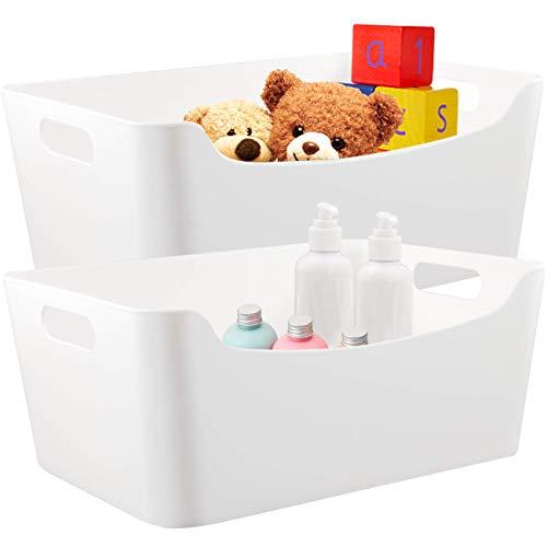 ÉLEVER Storage Bins - Plastic Organizers and Storage Box Versatile Kitchen Pantry Organization and Storage Under Sink Bathroom Organizer Toy Baskets Food Storage Containers for Organizing