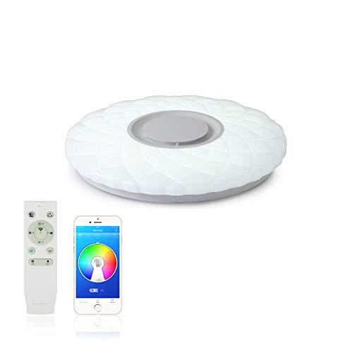 MAKELONG Plafoniere a LED Con Altoparlante Bluetooth,36W 400mm 3000lm,APP per Smartphone e Telecomando, Regolazione Luminosità e Colori,3000-6500K + RGB Lampadario,(Spedizione dal Belgio)