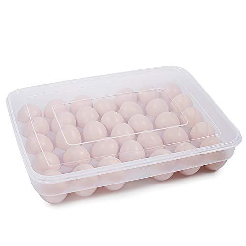 77L Huevera, contenedor de 34 huevos para el frigorífico, con tapa, portátil, de...