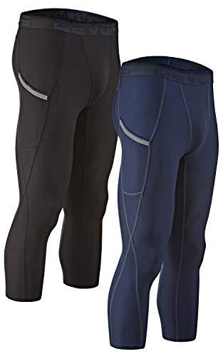 DEVOPS Men's 3/4 (2 Pack) Compression Cool Dry Tights Baselayer Running Active Leggings Pocket Pants (Medium, Black/Navy)