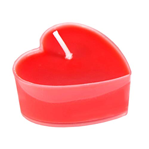 Demarkt 9X Herzförmige Kerze Romantische Liebe Kerze Brenndauer von etwa 4 Stunden Rot