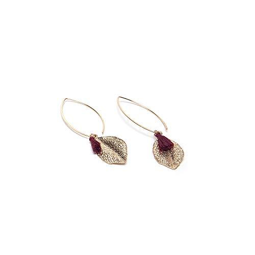 VESTOPAZZO MRG3004 - Orecchini Micro Rose Gold ciondoli foglie con decorazione tassel
