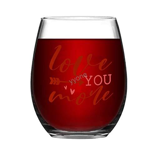 Copa de vino grabada personalizada sin tallo, 325 ml – Love You More, copas de vino, bodas, fiestas, cumpleaños, regalos para papá, hombres, amigos, padres