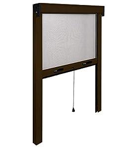 I.R.S. Mosquitera Fina Vertical Enrollable a Muelle. De Aluminio Barnizado. riducibile de 20–25cm al máximo.