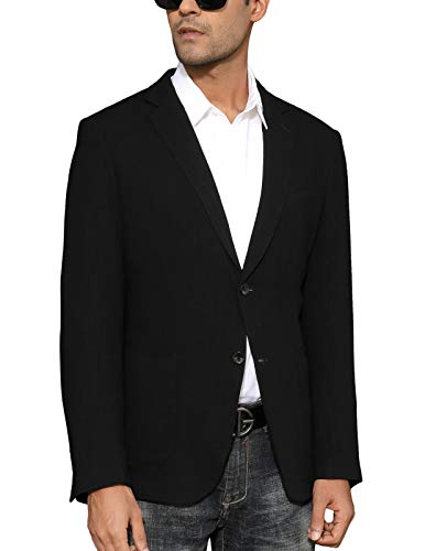 Men's Casual Linen Jacket Sport Coat Slim Fit Blazer Black, Medium