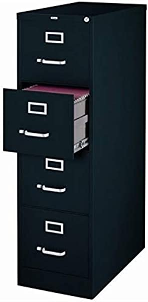 Pemberly Row 4 Drawer 25 Deep Letter File Cabinet In Black Fully Assembled