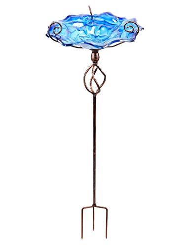Mumtop Vogeltränke aus Glas, 78,7 cm hoch, mit Metallpfahl dunkelblau