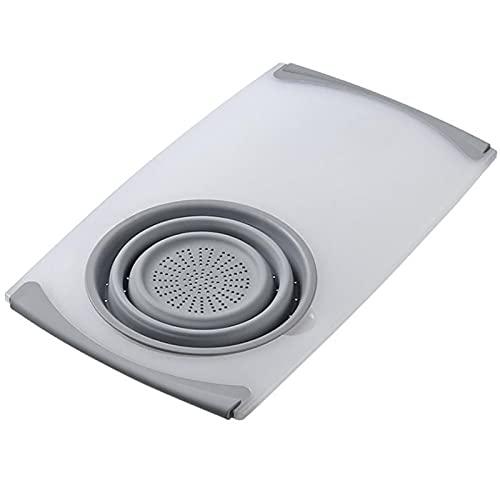 Tabla de Cortar Profesional Mesa de cocina Tablero de corte flexible Silicona Cesta de desagüe plegable de cocinar Cosas de cocina Cosas de cocina plegable colador conjunto Tablas de Cocina para Corta