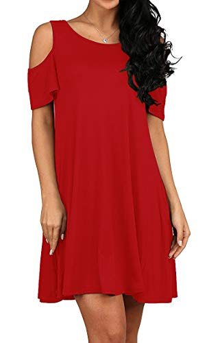 QIXING Women's Summer Cold Shoulder Tunic Top Swing T-Shirt Loose Dress with Pockets Red-S