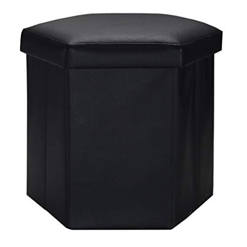 YUN HAI Tabouret de Rangement en Cuir Pouf Pliant Style rétro Tabouret à Six pans Creux Pliant Polyvalent DIY Repose-Pieds Tabouret Souple Cuir Artificiel Tissu Éponge Cube Noir Grand 54
