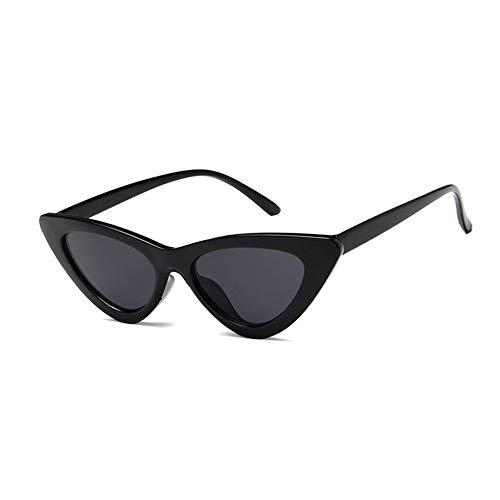 Vintage Triangle Cat Eye Mujer Gafas de sol Personalidad Gafas de sol Marco de PC Lente de resina Viaje UV400 Gafas de sol Gafas de sol - Negro brillante y gris