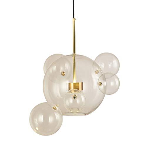 ZRWZZ Bubble Ball Glazen verlichting LED Eenvoudig verstelbare smeedijzeren plafondlamp woonkamer restaurant showroom creatieve decoratieve hangende verlichting warm licht
