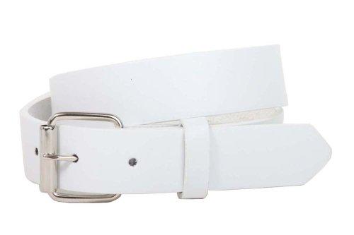 Kids 1' Snap On Plain Leather Belt, White | M - 24'