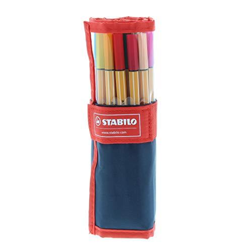 Rotulador puntafina STABILO point 88 - Estuche premium de tela Rollerset con 25 colores