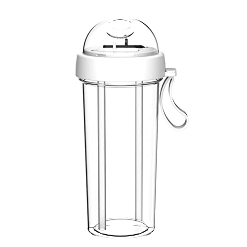 FOReverweihuajz 420/600ml Portable Double Straw Water Cup Creative Couple Straw Cup Sports Fitness Water Cup Couple Gift