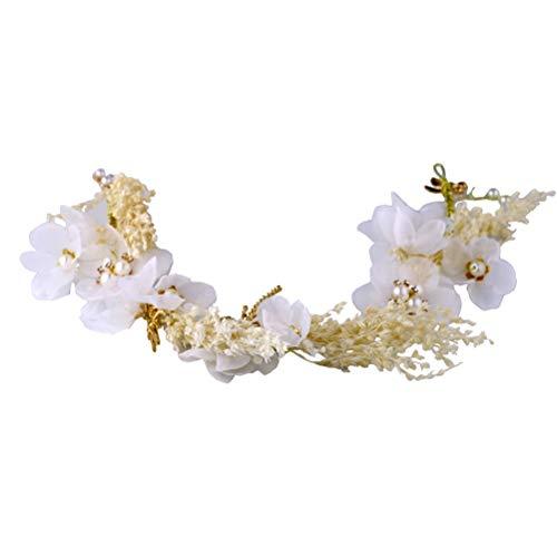 Lurrose Banda para el pelo nupcial, diadema de flores secas, fiesta de banquete de boda