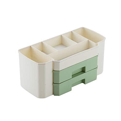 De doble capa de escritorio del cajón del maquillaje organizador Cosméticos for Mujeres Los hisopos de algodón joyería pendientes caja de almacenamiento Barras de labios collar ( Color : Dark Khaki )