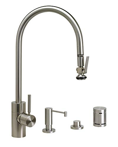 Review Waterstone 5700-4-PC Contemporary PLP Extended Reach Pull Down Faucet 4pc. Suite Polished Cop...