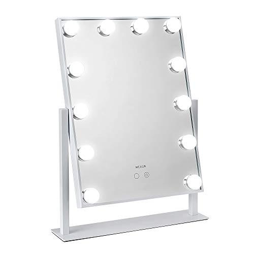 Melur Hollywood Schminkspiegel mit LED-Beleuchtung für Schminktisch, professioneller beleuchteter Kosmetikspiegel mit 12 dimmbaren Leuchtmitteln inkl. Netzteil weiß