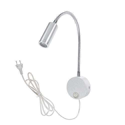 WeFoonLo 3W Lámpara de lectura de pared con lámpara de lectura de pared de cuello de cisne flexible con enchufe e interruptor para dormitorio, oficina, mesa de trabajo, estudio (01 plata cálido)