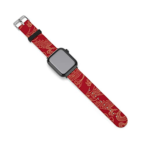 Banda de silicona para reloj de dragones en rojo, adecuada para mujeres y parejas, longitud ajustable, 38mm/40mm,