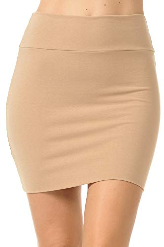 Fashion Aktiv Basic Double-Layer Cotton Simple Stretchy Tube Pencil Mini Skirt (X-Large, Khaki)