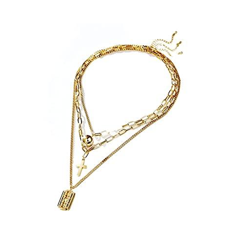 WYZQ Collar de joyería para Mujer, Collar Largo con Colgante en Capas de cumpleaños, bisutería, bisutería para Mujer, declaración, joyería
