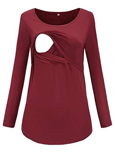 Love2Mi Damen Schwangere Stillen Shirt Nursing Langarmshirts Rundhals Top Schwangerschaft Umstandstop, Weinrot, S
