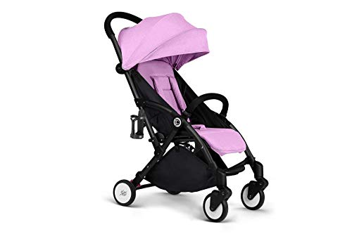 Woodtree Direct strollers can sit reclining deck wagon Baby Buggy can be on the plane (Color : Black tube Purple) Woodtree Type: stroller Function: lying Material: Aluminum 1