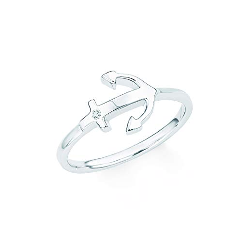 s.Oliver Damen-Ring So Pure Anker maritim 925 Sterling Silber rhodiniert Zirkonia weiß