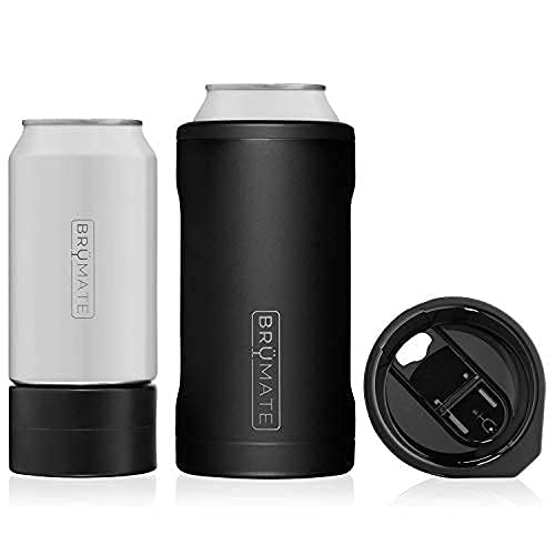 Brümate Hopsulator Trío 3-In-1 Stainless Steel Insulated Koozie, Works With 12 Oz, 16 Oz Cans And As A Pint Glass (Matte Black)