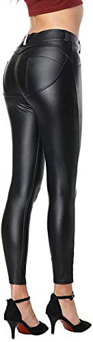 Uni-Wert Damen Lederhose Stretch Skinny Leggings High Waist Schwarz Kunstleder Hose, Schwarz, EU 38/(Asian L)
