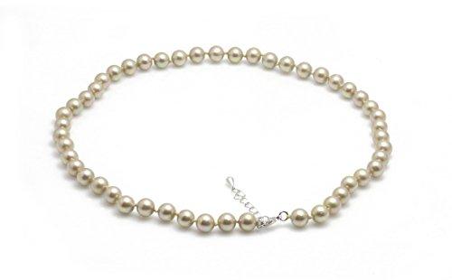 Schmuckwilli Damen Muschelkernperlen Perlenkette aus echter Muschel hell grau 45cm 8mm mk8mm093-45
