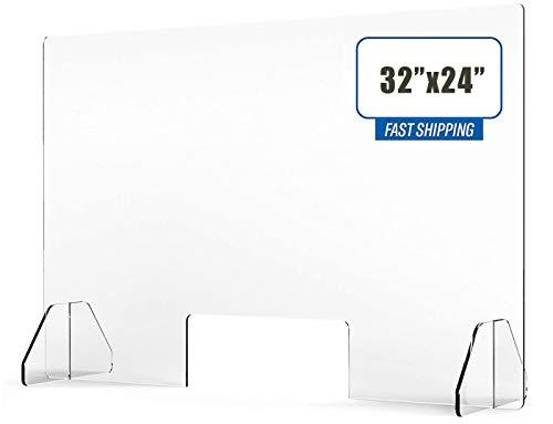 Niesenschutz, 81,3 x 61 cm, freistehend, mit Durchgangsfenster, transparente Schreibtischplatte, Barriere für Büro, Geschäfte, Arbeitsplatten, Schreibtisch, Kassierer (81,3 x 61 cm)