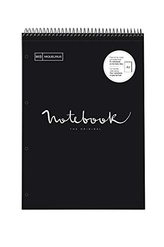 Miquelrius 46085 Cuaderno A4 Emotions Reporter espiral superior. Negro 80 hojas Cuadrícula