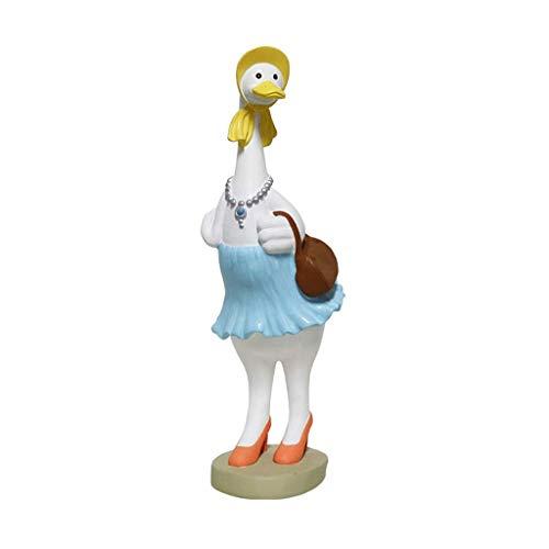 XJJZS Xiao Hong Inicio Estatuas Decoración de Escritorio Adornos Animal Señora Pato Resina Forma Estatua Decoración Niños Regalo de Cumpleaños
