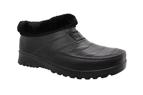 buyAzzo Botas de goma para hombre con forro cálido, zapatillas de estar por casa forradas, zuecos impermeables, zapatos de goma, zapatos de otoño e invierno, tallas 41-46, color Negro, talla 41 EU