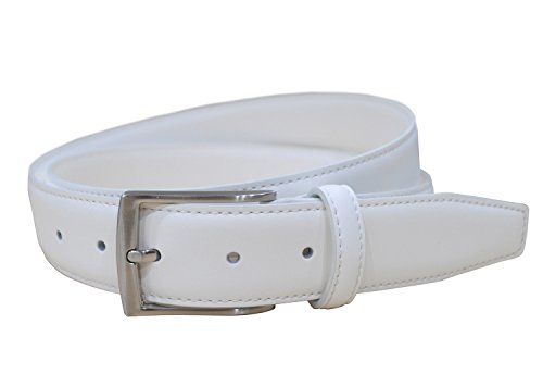Men's White Genuine Leather Belt 1 3/8' Wide