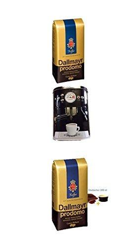 Dallmayr Prodomo ganze Bohnen 500g + Kaffeedose neu 3 D Design schwarz + 4 Gläser mit Henkel 200ml