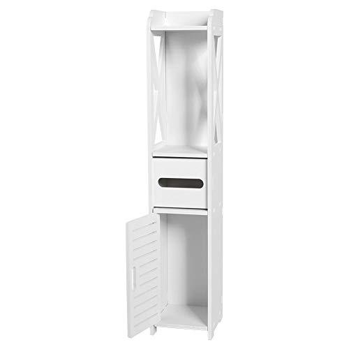 Badezimmer Schlafzimmer Schränke, 80 × 15,5 × 15,5 cm Einheit Schlank Feuchtigkeitsbeständig Badezimmer Toilettenmöbel Schrank Weiß Holz Schrank Regal Gewebe Lagerregal für Wohnzimmer Küche Flur