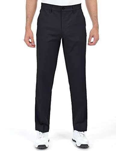 Herren-Golfhose, schmal zulaufend, Stretch, Khaki, leicht, flache Vorderseite, Khaki - Schwarz - 40W / 32L
