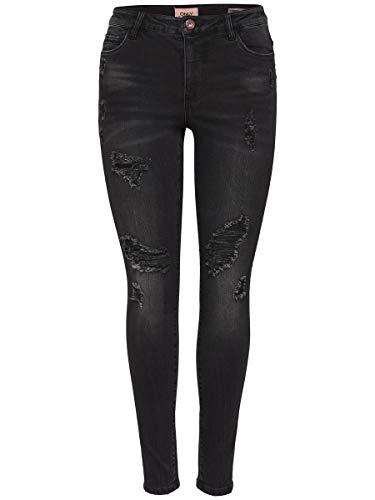 ONLY Damen Skinny Jeans Onlcarmen RG SK Ank Destje BJ11126 Noos, Schwarz (Black Black), W27/L32
