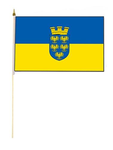 Sportfanshop24 Stockflagge/Stockfahne NIEDERÖSTERREICH mit Wappen Flagge/Fahne ca. 30 x 45 cm mit ca. 60cm Stab/Stock
